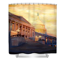 Golden United States Capitol In Washington D.c. Shower Curtain by M Bleichner