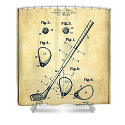 Golf Club Patent Drawing From 1910 - Vintage Shower Curtain by Aged Pixel