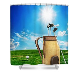 Golf Equipment And Ball On Golf Course Shower Curtain by Michal Bednarek