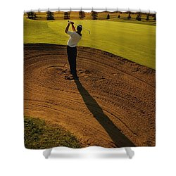 Golfer Taking A Swing From A Golf Bunker Shower Curtain by Darren Greenwood