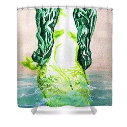 Good Morning Little Mermaid Shower Curtain by Del Gaizo