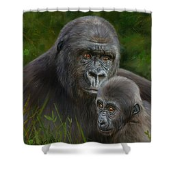 Gorilla And Baby Shower Curtain by David Stribbling