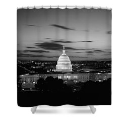 Government Building Lit Up At Night, Us Shower Curtain by Panoramic Images