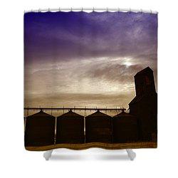 Grain Bins In Reserve Montana Shower Curtain by Jeff Swan