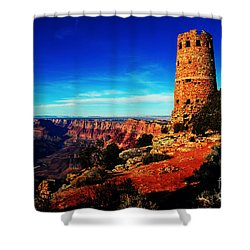 Grand Canyon National Park South Rim Mary Colter Designed Desert View Watchtower Vivid Shower Curtain by Shawn O'Brien