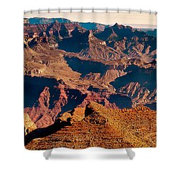 Grand Canyon Navajo Point Panorama At Sunrise Shower Curtain by Bob and Nadine Johnston