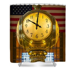 Grand Central Clock Shower Curtain by Inge Johnsson