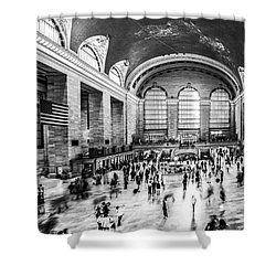 Grand Central Station -pano Bw Shower Curtain by Hannes Cmarits