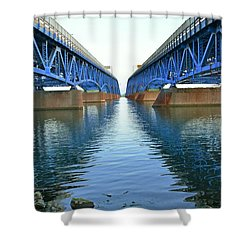 Grand Island Bridges Shower Curtain by Kathleen Struckle