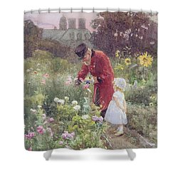 Grandads Garden Shower Curtain by Rose Maynard Barton