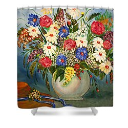 Grandma's Hat And Bouquet Shower Curtain by Janice Rae Pariza
