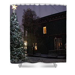 Grants Pass Town Center Christmas Tree Shower Curtain by Mick Anderson