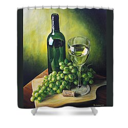 Grapes And Wine Shower Curtain by Kim Lockman