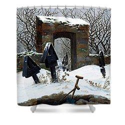 Graveyard Under Snow Shower Curtain by Philip Ralley