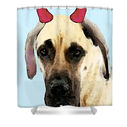 Great Dane Art - Ok Maybe I Did Shower Curtain by Sharon Cummings