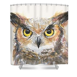 Great Horned Owl Watercolor Shower Curtain by Olga Shvartsur
