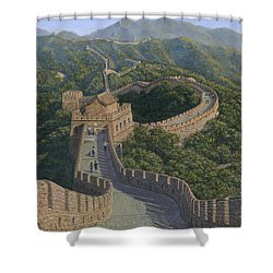 Great Wall Of China Mutianyu Section Shower Curtain by Richard Harpum