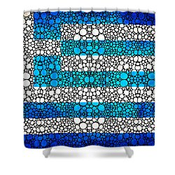 Greek Flag - Greece Stone Rock'd Art By Sharon Cummings Shower Curtain by Sharon Cummings