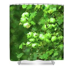 Green Apple On A Branch Shower Curtain by Toppart Sweden