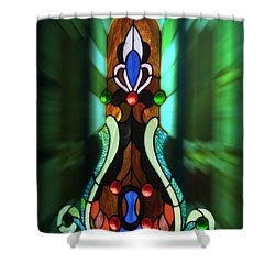 Green Brown Stained Glass Window Shower Curtain by Thomas Woolworth