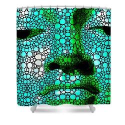 Green Buddha - Stone Rock'd Art By Sharon Cummings Shower Curtain by Sharon Cummings