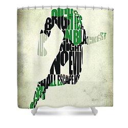 Green Lantern Shower Curtain by Ayse Deniz