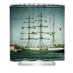 Green Sail Shower Curtain by Perry Webster
