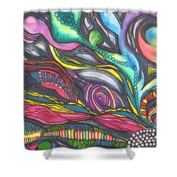 Groovy Series Titled Thoughts Shower Curtain by Chrisann Ellis