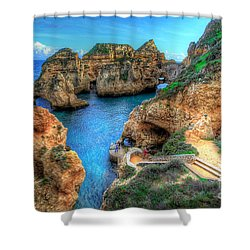 Grottos At Ponta Piedade Shower Curtain by English Landscapes