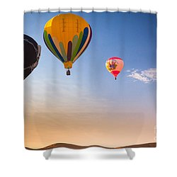 Group Of Balloons Shower Curtain by Inge Johnsson