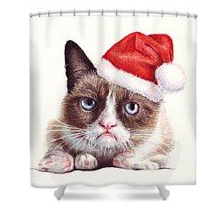 Grumpy Cat As Santa Shower Curtain by Olga Shvartsur