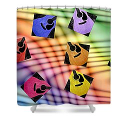 Guitar Storm - Rainbow Colors - Music - Abstract Shower Curtain by Andee Design
