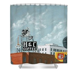 H And C Coffee Shower Curtain by Todd Bandy
