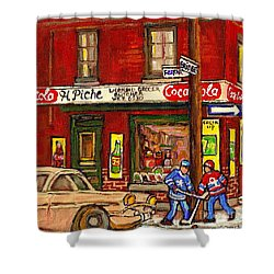 H. Piche Grocery - Goosevillage -paintings Of Montreal History- Neighborhood Boys Play Street Hockey Shower Curtain by Carole Spandau