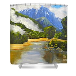 Haast River New Zealand Shower Curtain by Pamela  Meredith