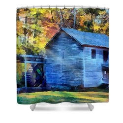 Hagood Mill With Sunrays Shower Curtain by Lynne Jenkins