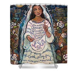 Hail Mary Shower Curtain by Jen Norton