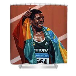 Haile Gebrselassie Shower Curtain by Paul Meijering
