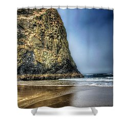 Half Stack Shower Curtain by Spencer McDonald