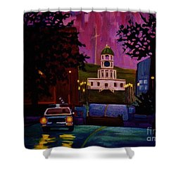 Halifax Night Patrol And Town Clock Shower Curtain by John Malone
