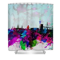 Hamburg Watercolor Skyline Shower Curtain by Naxart Studio