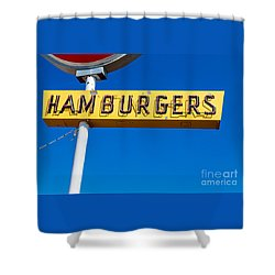 Hamburgers Old Neon Sign Shower Curtain by Edward Fielding
