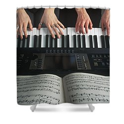 Hands On Keyboard Shower Curtain by Kelly Redinger