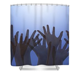 Hands Raised In Worship Shower Curtain by Colette Scharf