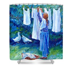 Hanging The Whites  Shower Curtain by Trudi Doyle