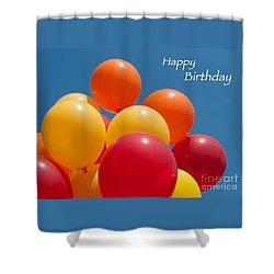 Happy Birthday Balloons Shower Curtain by Ann Horn