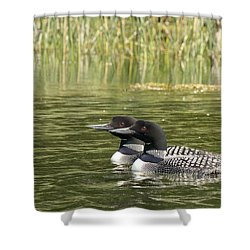Happy Couple Shower Curtain by Penny Meyers