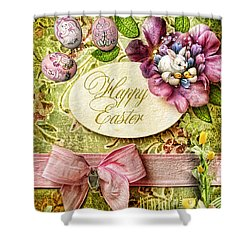 Happy Easter 2 Shower Curtain by Mo T