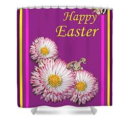Happy Easter Hiding Bunny Shower Curtain by Irina Sztukowski