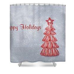 Happy Holidays Shower Curtain by Kim Hojnacki